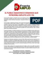 El Pueblo Amazonico Demanda Que Petroperu Explote Lote 192 Pronunciamiento