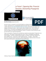 """""""Breaking the Fear Factor"""" Opposing War, Financial Fraud and State Terrorism, Dismantling Propaganda"""