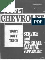 1976 Chevrolet Light Truck Service Overhaul Supplement