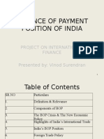 Balance of Payment Position of India