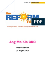 Reform Party Ang Mo Kio GRC Press Conference Press Kit
