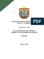 Plan Integral de Gestión Ambiental de Residuos Solidos