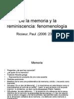 De La Memoria y La Reminiscencia