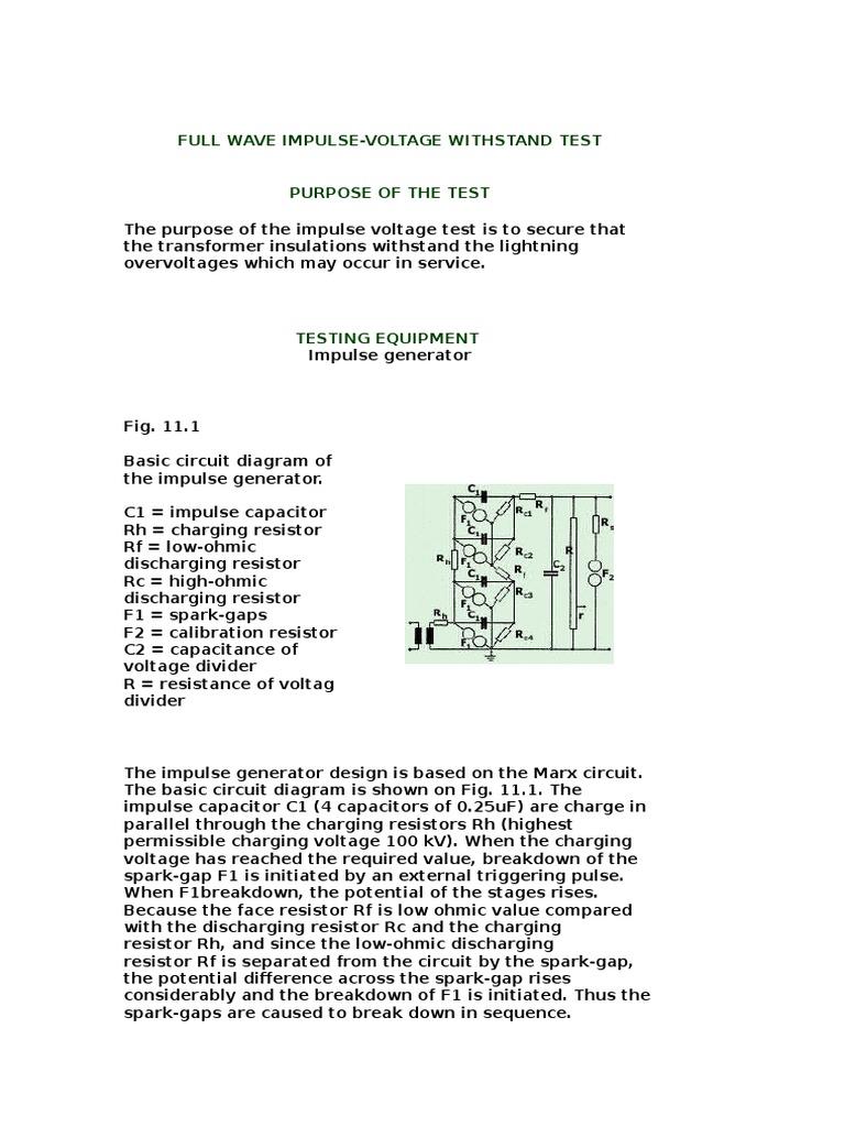Impulse Wit Test Capacitor Resistor Voltage Divider Diagram