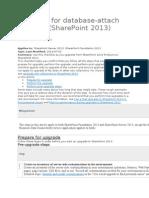 Checklist for Database-Attach Upgrade (SP2013)