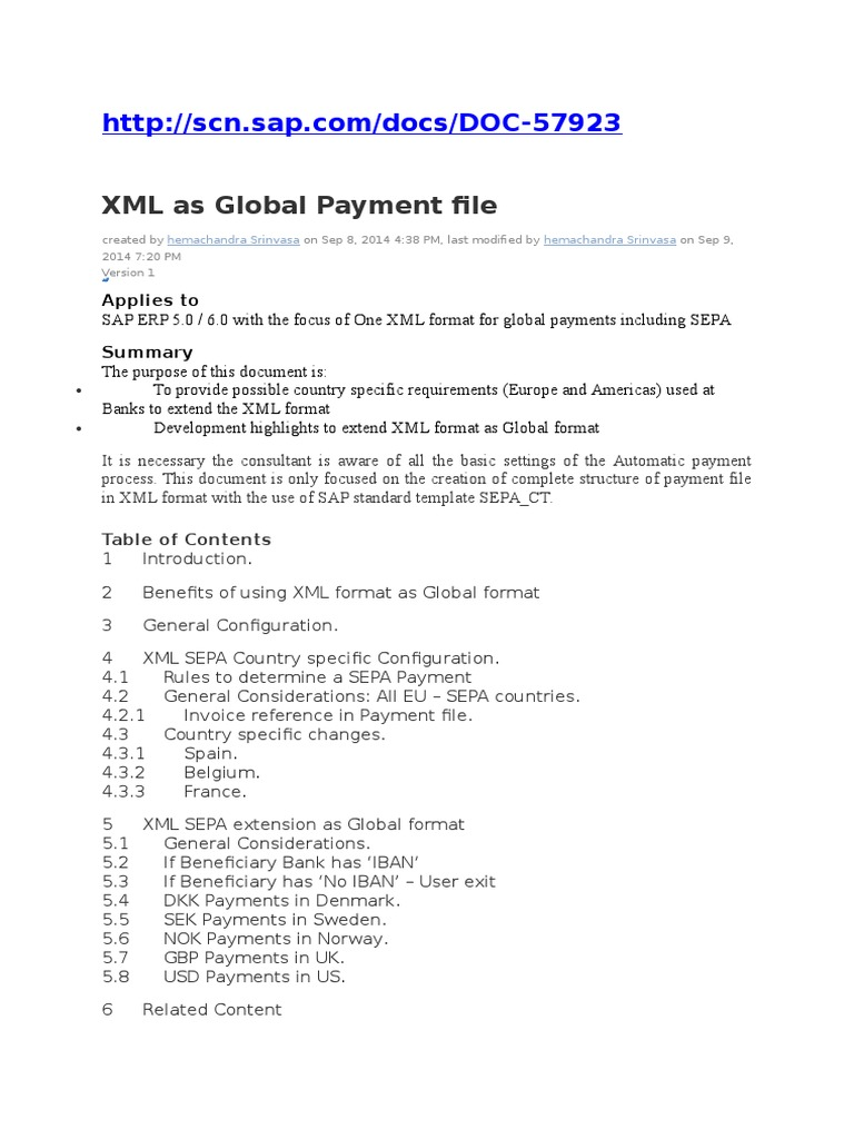 SAP FI XML as Global Payment File | Invoice | Payments