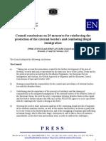 Conseil Européen 25-26 février 2010 - 29 mesures contre l'immigration illégale