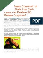Dieta a Basso Contenuto Di Grassi o Dieta Low Carb
