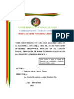 Implantación de Contabilidad Agropecuaria en La Hacienda Ganadera Del Sr. Julio Eustaquio Gutiér