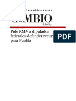 28-08-2015 Diario Matutino Cambio de Puebla - Pide RMV a Diputados Federales Defender Recursos Para Puebla