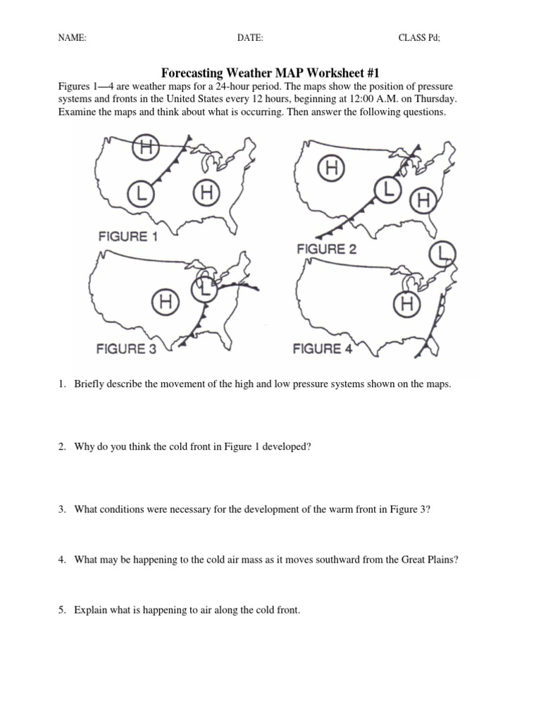 Printables Weather Map Worksheet ws forecasting weather map 1 5 pdf map