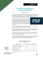 Variación de los Indicadores de Precios de la Economía