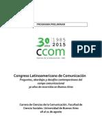Programa Preliminar Congreso de Ciencias de la Comunicación 2015