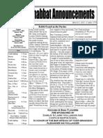 Shabbat Announcements, March 6, 2010