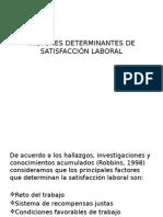 Factores Determinantes de Satisfacción Laboral