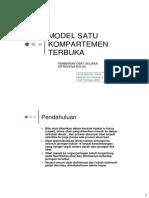 Model Satu Kompartemen Terbuka IV Bolus