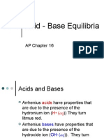 AP Chapter 16 Acid - Base Equilibria