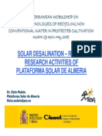 Solar Desalination – Recent Research Activities of Plataforma Solar de Almeria