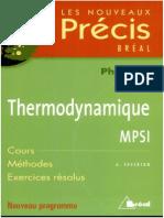 Les Nouveaux Précis Bréal Thermodynamique MPSI