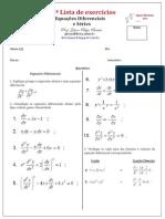 1ª Lista de Equações Diferenciais e Séries