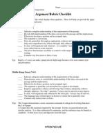 rubric argument checklist