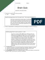 Brain Quiz 5th Grade