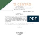 Certificado Laboral Auto Centro Pifo