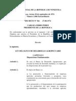Ley Del Banco de Desarrollo Agropecuario