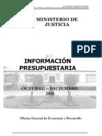 Plan 131 Información Presupuestaria Correspondiente Al 4to. Trimestre (Octubre-diciembre 2010) 2011