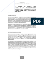ALPÍZAR, F. (2014). EL PODER, LAS INSTITUCIONES Y LA PARTICIPACIÓN POLÍTICA EN LA GESTIÓN DEL AGUA EN COSTA RICA (1821-2010). SAN JOSÉ, COSTA RICA