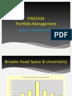 Lecture 5 - Optimal Portfolios
