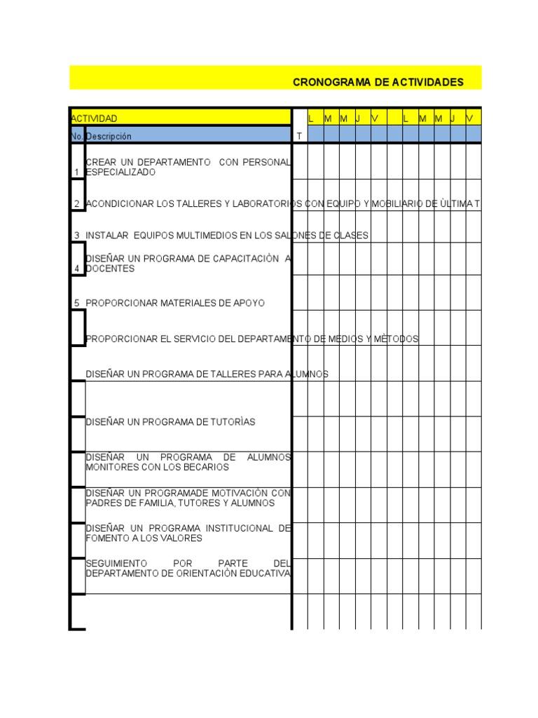 cronograma de actividades formato blanco