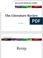 Role of literature review in research proposal