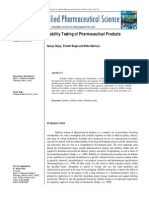 Stability Testing of Pharmaceutical Products