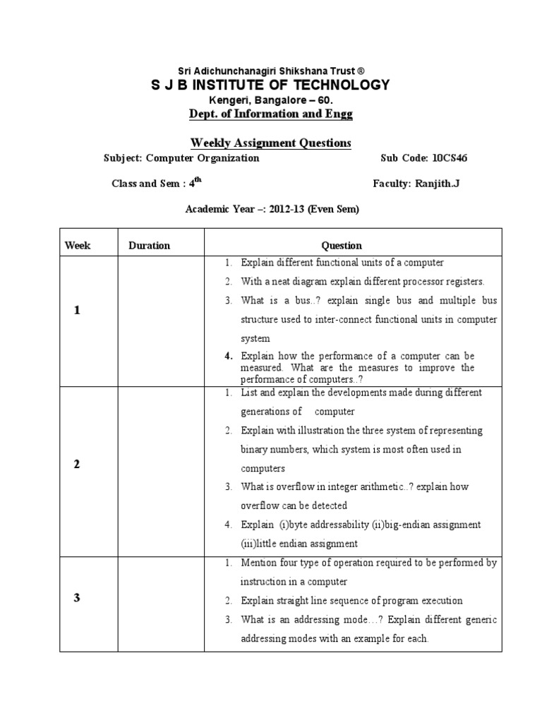 Computer Organization Assignment Ise 4th Sem Memory Bus Diagram Data Storage