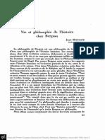 HYPPOLITE, J. - Vie Et Philosophie de l'Histoire Chez Bergson