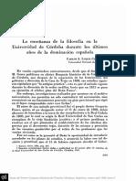LUQUE COLOMBRES, C.a. - La Enseñanza de La Filosofía en La Universidad de Córdoba Durante Los Últimos Años de La Dominación Española