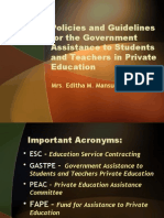 Policies and Guidelines for the GASTPE