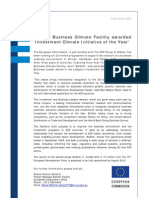 ACP-EU Business Climate Facility Awarded 'Investment Climate Initiative of the Year'-2009