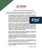 MESA. Declaración Pública Situación ONG en Bolivia