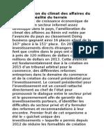 L'Amelioration Du Climat Des Affaires Du Benin