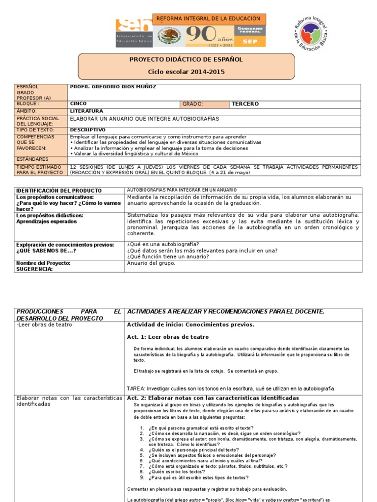 Planeación Tercer Grado Secundaria Español. Bloque V
