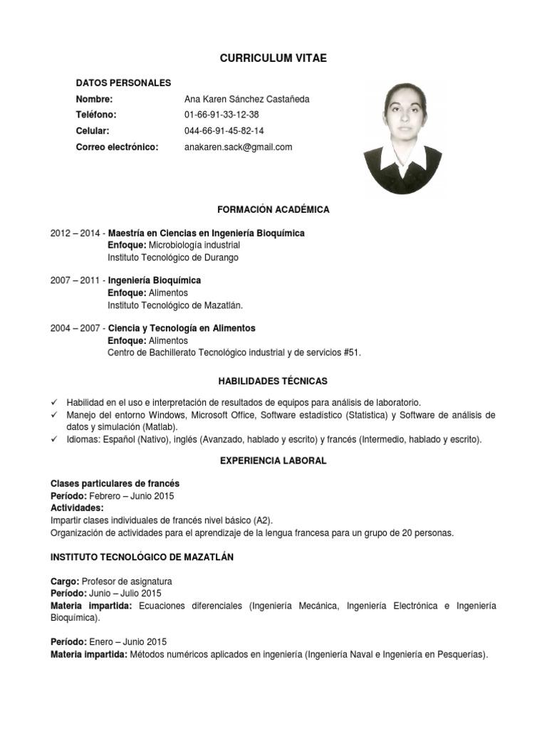 Excelente Un Curriculum Vitae De Estudiante Ornamento - Ejemplo De ...