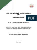 Directiva Sanitaria de Procedimientos Asistenciales HSB 05-03-08 v2