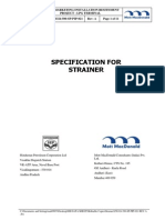 Spec for Process Strainer