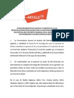Informe sobre investigaciones de PGJDF en el asesinato de Rubén Espinosa
