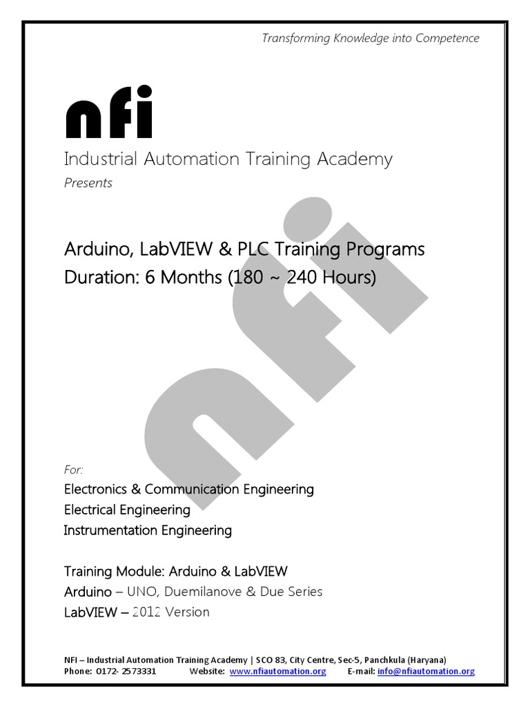 NFI Arduino Labview 6 Months Training | Arduino | Servomechanism