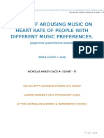 nic hardy - report - how does music preference affect heart rate when listening to arousing music