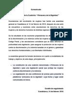 Comunicado Coalicion Printemps de La Dignite