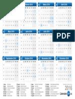 Calendario 2016 (por mes)
